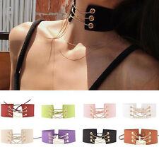 Sexy Women Lace Up Gold Chain Gothic Punk Choker Vintage Velvet Necklace Jewelry