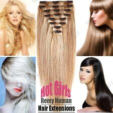 Clip In Remy Human Hair Extensions Full Head Thick Weft DIY Weave UK Ship SC129