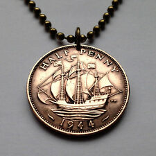 UK Great Britain 1/2 penny Golden Hind SHIP BOAT coin pendant necklace n000009