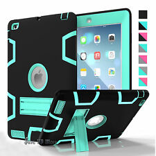 Armor Impact PC Defender Shockproof Rubber Stand Phone Case Cover For Apple iPad