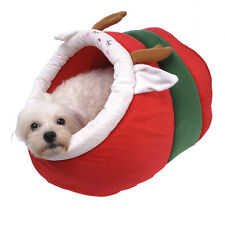 Soft Red Christmas Pet Dog Cat House Beds Kennel Puppy Tent nest Soft Cushion