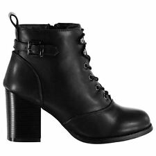 Miso Womens Bronx 2 Heeled Ankle Boots Lace Up Side Zip Casual Chunky Heel Shoes