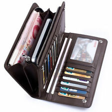 New Men's Leather ID Card Holder Zip Wallet Purse Clutch Checkbook Billfold V