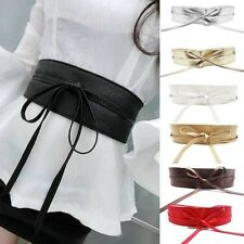 Elegant Boho Dress Soft Leather Belt Self Tie Wrap Around Obi Wide Waist Band