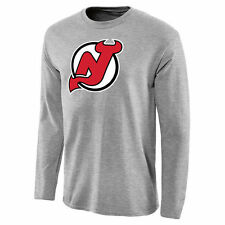 New Jersey Devils Team Primary Logo Long Sleeve T-Shirt - Ash - NHL