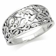 925 Sterling Silver VICTORIAN STYLE FILIGREE CONCAVE Ring