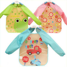 New Baby Toddler Coverall Bib Apron With Cute Animals And Waterproof Backing TB