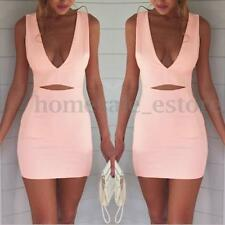 Sexy Ladies Bodycon Slim Dress V Neck Pencil Clubwear Cocktail Short Mini Dress