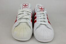 Adidas Superstar J Grade School Kids Size Sneakers White/Red G09855** SD38