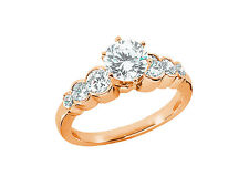 1.50Ct Round Diamond Engagement Ring Graduated Bezel Set Accents 14k Gold GH SI1