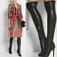 Women's Black Leather Thigh High Boots Over the Knee High Heel Party Pumps W3465