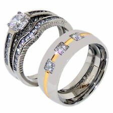 His Hers 3 PCS Womens Round CZ Wedding Ring Set /Mens 3 CZ Band with Gold Stripe