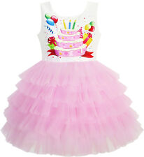 Girls Dress Birthday Princess Ruffle Dress Cake Balloon Print Size 3-10