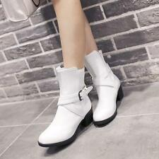 Women Fashion Ladies Mid Calf Boots Belt Buckle Knight Shoes Med Chunky Heels Sz