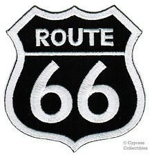 ROUTE 66 BLACK iron-on MOTORCYCLE BIKER PATCH new ROAD SIGN embroidered applique