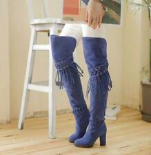 Plus Size Womens Over The Knee High Boots Tassels Block High Heels Casual Boots