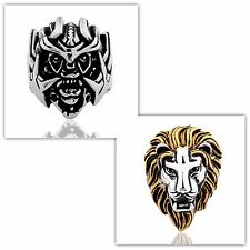 316L Gold&Silver Stainless Steel Lion-Head Rock Men's motorcycle ring Sz8-Sz15