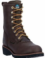 """New McRae Mens MR89394 8"""" Steel Toe Leather Waterproof Brown Logger LaceUp Boots"""