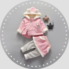 2PC Toddler Kids Baby Girls Winter warmth Clothes zipper coat +Pants Outfits Set