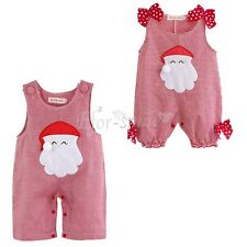 Christmas Boys Girls Kids Baby Santa Romper Costume Outfits Set Xmas Clothes