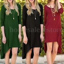 Sexy Women Asymmetric 3/4 Sleeve Party Evening Short Dress Loose Shirt Dress Top