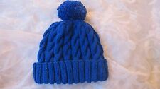 HAND KNITTED CHLDS BOB HAT CABLED ROYAL BLUE 0-3mths3-6mths6-12mths 1-2 &3-4 yrs