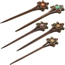 Retro Womens Crystal Flower Hair Jewelry Hair Stick Clip Pin Long Hair Accessory