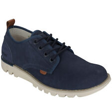 Mens Kickers Kick Losuma Suede Shoes In Navy-Cushioned Sole-Tab Stitched To