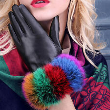 Women 360° Smart Touch Screen Genuine Leather Gloves Colorful Rabbit Fur Wrist