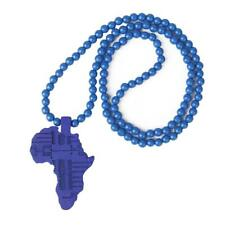 Wooden African Map Piece Africa Pendant Wood Rosary Bead Chain Necklace New 80cm