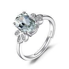 JewelryPalace Natural Green Amethyst White Rock Quartz Ring 925 Sterling Silver