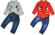 2pcs kids baby Boys / Girls Outfit Mouse shirt tops +Denim pants clothes set