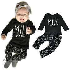 2pcs Newborn Toddler Infant Baby Boys Clothes T-shirt Tops+Pants Outfits Set
