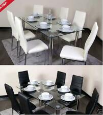 Glass Square Dining Room Table Set and 6 Chairs Faux Leather Chrome Cream/Black