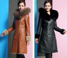 Women Fur Collar Coat Jacket Pu Leather Long Trench Parka Outwear hot hooded