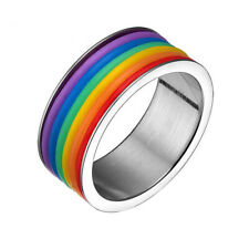 Charm 9mm Stainless Steel Silicone Rainbow LGBT Lesbian Gay Pride Ring US 6-13