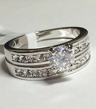 Silver Rhodium Plated Wedding Ring Set Cubic Zirconia Eternity Size 9 USA Seller