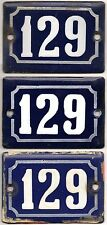Cute old blue French house number 129 door gate wall enamel street sign plaque