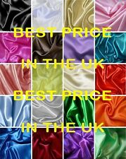 GORGEOUS SILKY SATIN MATERIAL FABRIC WEDDING PROM BRIDES DRESS 60 COLOURS
