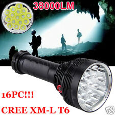 38000LM 16x XM-L T6 LED Flashlight 3 Mode Torch Light Lamp Waterproof Flashlight