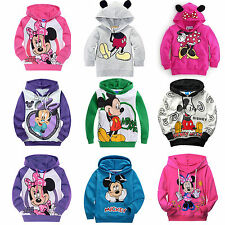 Kids Boys Girls Mickey Minnie Long Sleeves Hoodies T-Shirt Hoody Sweatshirt Coat