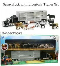 Kids 1:43 Country Life Ranch 1:43 LIVESTOCK CATTLE SEMI TRUCK+TRAILER 10 Animals