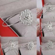 Women Crystal Flower Pearl Silver Plated Cuff Bracelet Bangle Christmas Fashion