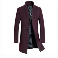 New Mens Wool Blend Trench Coat Long Stand Collar Business Jacket Outwear M-3XL