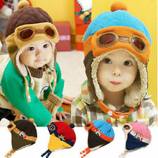 Winter Pilot Aviator Cap Baby Earflap Toddler Girl Boy Kids Warm Soft Beanie Hat