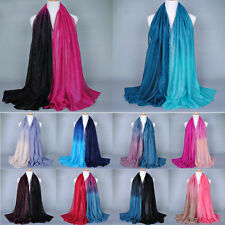 New Women Long Big Voile Scarf Soft Gradient Color Pashmina Wrap Shawl Stole NE