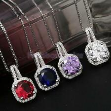 Fashion Large Square Faceted Crystal Zircon Ruby Sapphire Charm Pendant Necklace