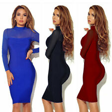 Sexy Womens Long Sleeve Perspective Mini Dress Bodycon Bandage Slim Clubwear