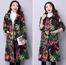 Women's Long Hooded Floral Cotton Blend Coat Jacket Ethnic Thin Outwear Gown