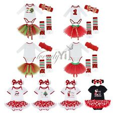 Newborn Baby Girl Headband My 1st Christmas Party Romper Skirt Dress 4pcs Outfit